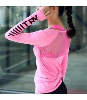 Les femmes sport transparent fitness à manches longues blouse rose sèche rapide