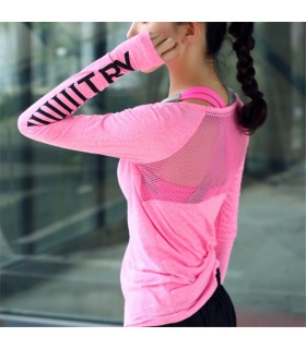 Women sport transparent fitness long sleeve quick dry pink blouse
