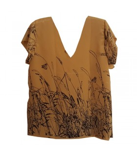 Real silk printed mustard color top