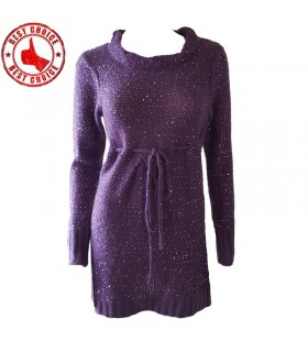 Sequins knitted purple dress