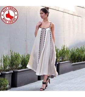 Satin süßes Kleid mit Perlen verziert