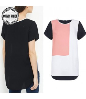 Geometric print chiffon t-shirt