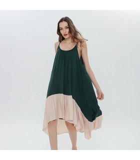 Spaghetti strap green and beige loose dress
