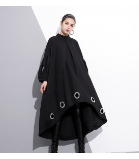 Long sleeves black metal ring asymmetrical dress