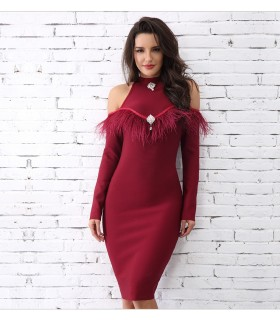 Bordeaux wine red feather slim cold shoulder dress