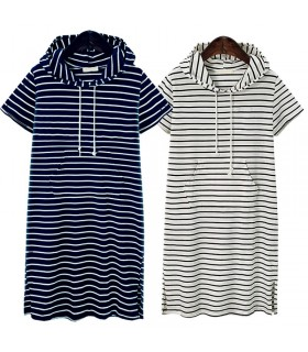 Striped sport hoodie dress