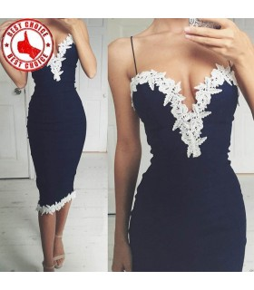 Dark blue V-neck dress embellished with white lace