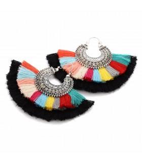 Boucles d'oreilles pompons colorés Coachella