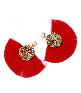 Boucles d'oreilles ethniques Coachella à franges rouges
