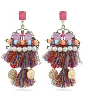 Boucles d'oreilles tribales à pampilles ethniques de couleur Coachella