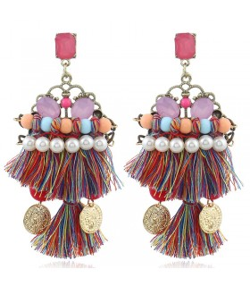 Tribal colored ethnic tassel earrings Coachella