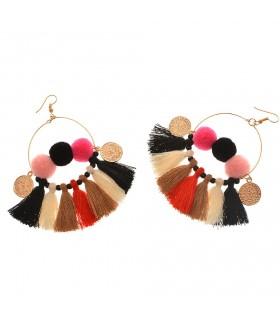 Fan shaped tassels colored earrings