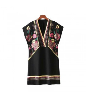 Black A-line printed dress