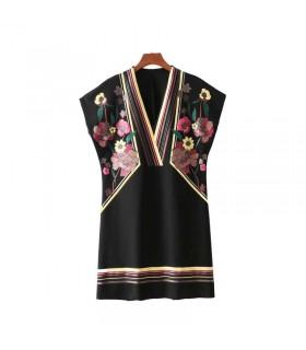 Schwarzes A-Line-bedrucktes Kleid