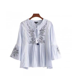 Embroidery linen shirt