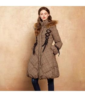 Cappotto lungo Parka con cappuccio in pelliccia Cappuccio invernale caldo 90% piumino d'oca