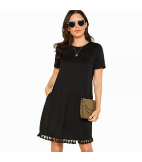 Black tassel office Dress