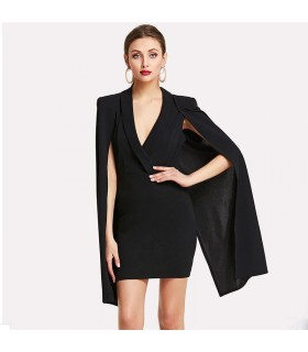 Cloak sleeve black pencil dress