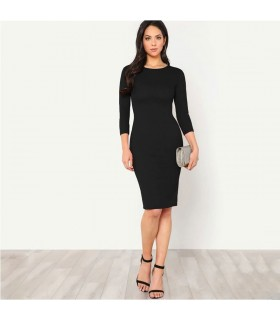 Elegant pencil black dress 3/4 sleeve