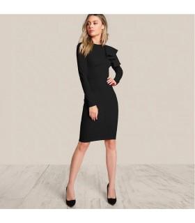 Rüschen Schulter schwarzes Kleid