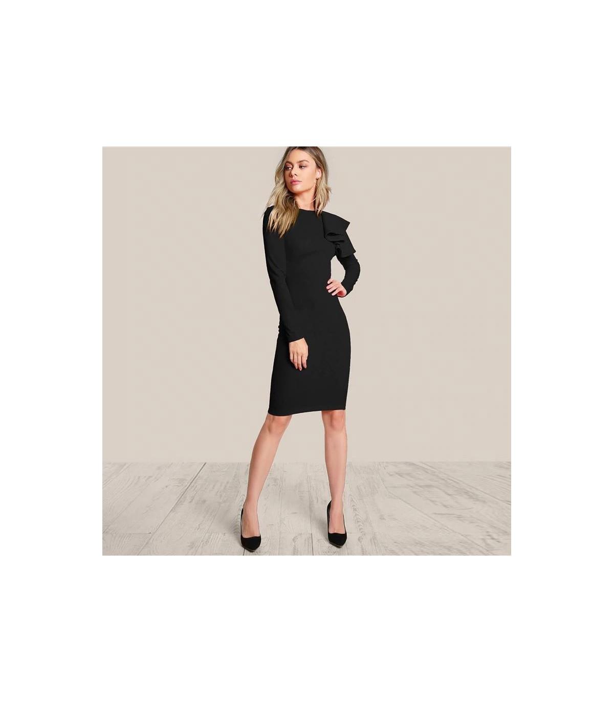 070e59411b23 Rüschen Schulter schwarzes Kleid Größe M