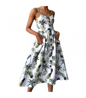 Summer palm ananas print dress