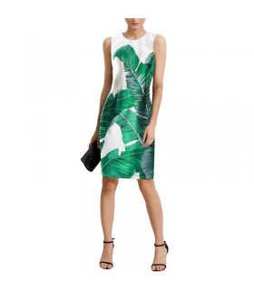 Banana leaves print dress