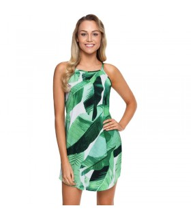 Green leaf short summer dress