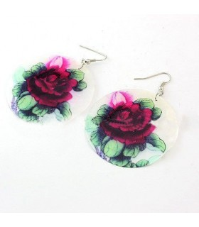 Red rose shell fashion earrings