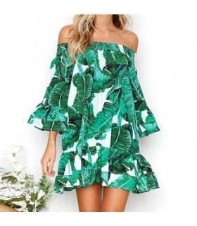 The Shoulder Off ruffles leaves print dresses