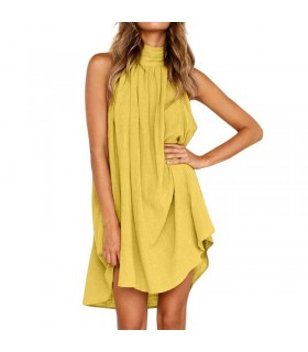 Sleeveless summer yellow dress