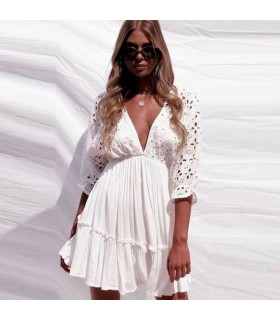 White embroidered backless cotton dress