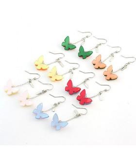 Modern style double butterfly earrings