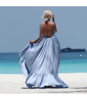 Backless light blue maxi dress