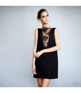 Black silk dress with lace V-neck