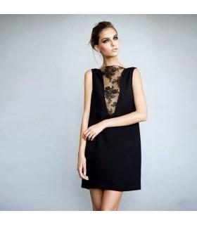 Schwarzes Seidenkleid mit Spitzen-V-Ausschnitt