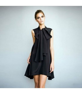 Black silk dress with front bow