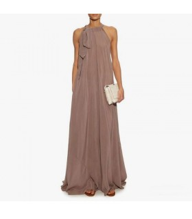 Silk flowy summer nude dress