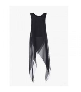 Sheer black layered silk top