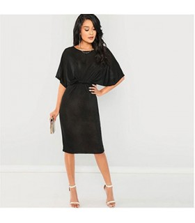 Twist front black dress