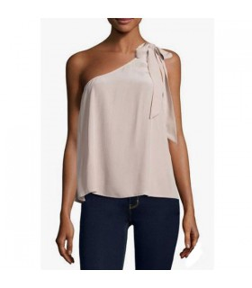 One shoulder bow beige silk top