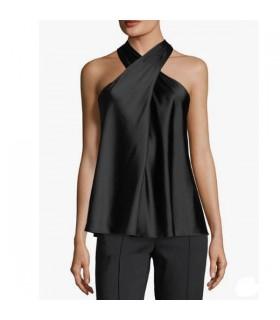 Maglietta a tracolla in seta nera