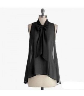 Black transparent front bow silk top