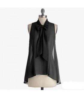 Black transparent front bow silk top