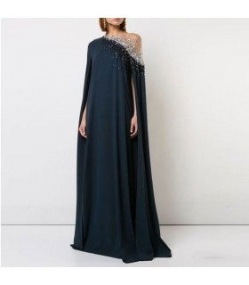 Black silk and rhinestones elegant gown  evening dress