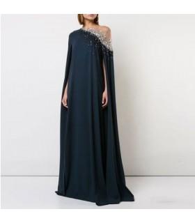 Robe de soirée élégante en soie noire et strass