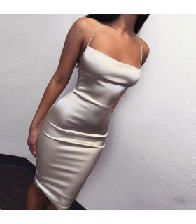 Elastic silk white dress
