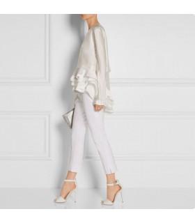 Superbe chemise blanche de créateur en soie à superpositions multiples