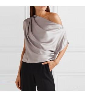 Silver silk top