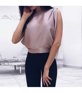 Pink empty back silk top